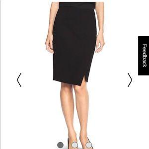 WHBM Ponte Asymmetrical Pencil Skirt. Black  6